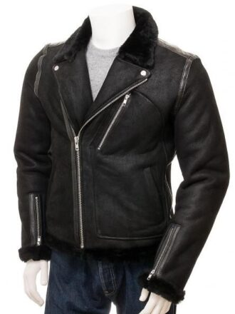 Men's Black Aviator Faux Shearling Leather Jacket: Brighton