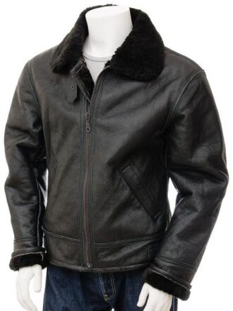 Men's Aviator Shearling Collar Black Leather Jacket: Duntroon