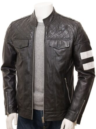 Men's Black Cafe Racer Leather Jacket: Kaeo