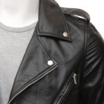 Men's Black Classic Biker Leather Jacket: Picton