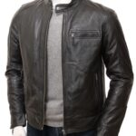 Men's Black Motorcycle Leather Jacket: Seddon