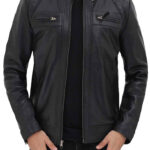 Men's Black Quilted Biker Leather Jacket: Renwick