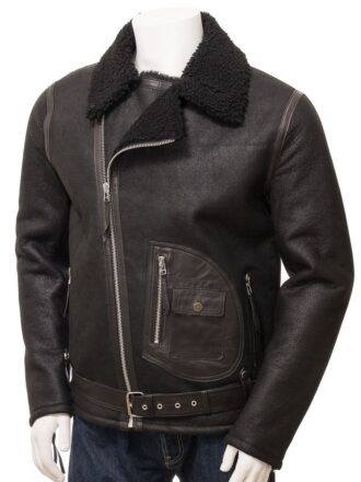 Men's Black Shearling Aviator Leather Jacket: Mamaku