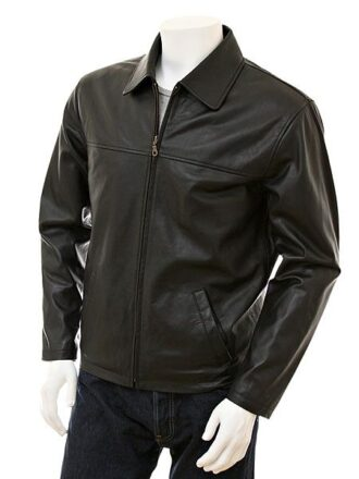Men's Black Shirt Collar Biker Leather Jacket: Nelson