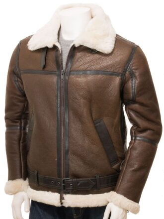 Brown Aviator Leather Jacket for Men: Moana