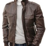 Men's Slim Fit Brown Bomber Leather Jacket: Poroti