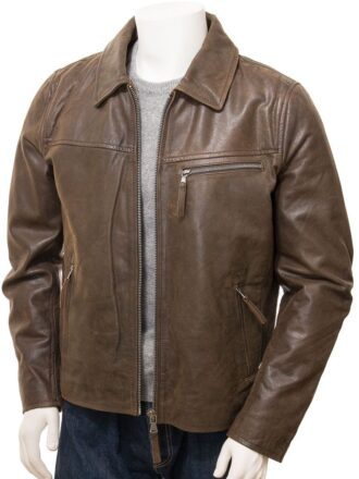 Men's Brown Shirt Collar Biker Leather Jacket: Naseby