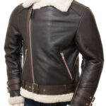 Men's Brown Aviator Faux Shearling Leather Jacket: Raglan