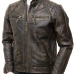 Men's Brown Vintage Style Biker Leather Jacket: Waima