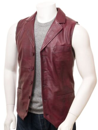 Burgundy Leather Waistcoat for Men: Clive