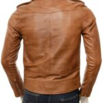 Classic Tan Biker Leather Jacket for Men: Hope