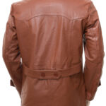 Men's Classic Style Tan Leather Peacoat: Mokau