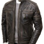 Men's Vintage Cafe Racer Biker Leather Jacket: Towai