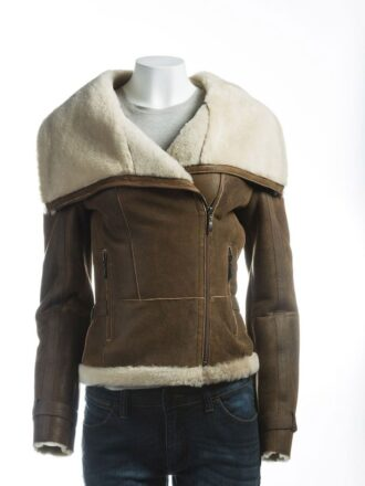 Women's Brown Wide Lapel Collar Shearling Leather Jacket: Levin
