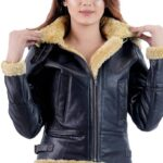 Women's Black Faux Shearling Leather Jacket: Norfolk