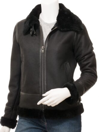 Women's Black Suede Aviator Leather Jacket: Amberley