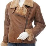 Women's Brown Shearling Lapel Collar Leather Jacket: Charlton