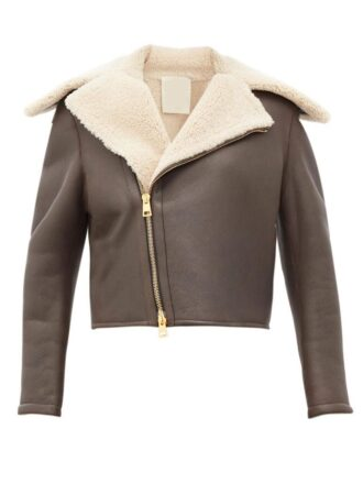Women's Chocolate Brown Faux Shearling Leather Jacket: Leeston