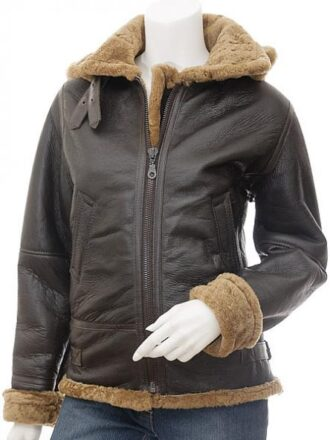Women's Brown Aviator Leather Jacket with Detachable Hood: Beaumont