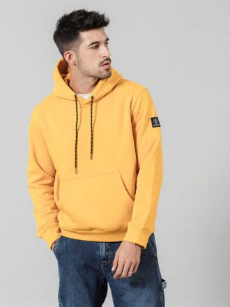 Casual Solid Color Full Sleeve Hoodie For Men