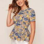 Multicolor Floral Print Peplum Short Sleeve Blouse For Women