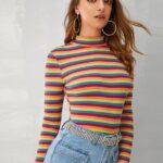 Stand Collar Striped Full Sleeve T-Shirt For Women