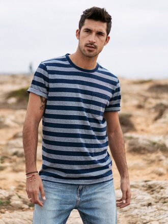 Blue Striped 100% Cotton T-shirt For Men