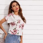 Cuffed Sleeve Floral Print Blouse For Women