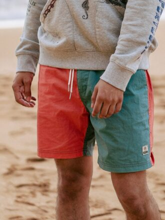 Panelled Contrast Color Casual Shorts For Men