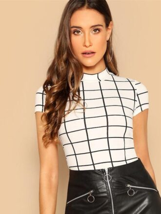 Black and White Plaid Peplum Stand Collar Top For Women
