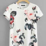 Flower Print Round Neck Casual T-shirt For Women