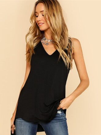 Asymmetrical V-Neck Dolphin Hem Tank Top For Women