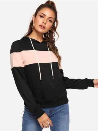 Black Preppy Casual Drawstring Hoodie For Women