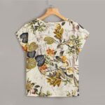 Boho Style Round Neck Tropical Print Blouse For Women