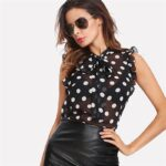 Ruffle Tied Neck Bow Polka Dot Blouse For Women