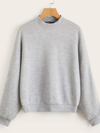Drop Shoulder Heather Gray Pullover For Women