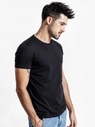 Solid Color O-neck Slim Fit Basic T-shirt For Men