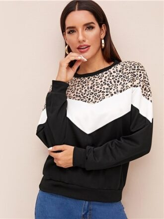 Contrast Color Block Print Casual Pullover For Women