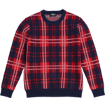 Men's Crew Neck Plaid Contrast Color Pullover