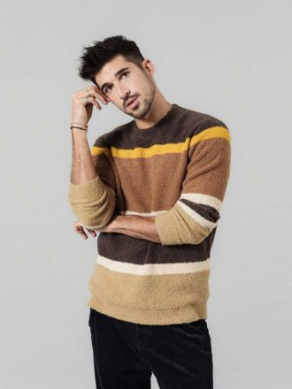 Mix Wool Jacquard Contrast Striped Knitted Pullover For Men