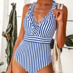 Back Cross Straps Ruffled One-Piece Swimsuit