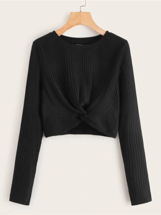 Solid Twist Front Rib-knit Crop Top For Women