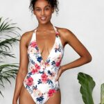 White Floral Plunge V-neck One-Piece Backless Swimsuit