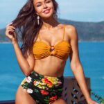 Solid Orange O-Ring Bandeau Padded Bikini Top
