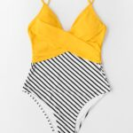 Yellow and Striped Twist V-neck One-Piece Swimsuit