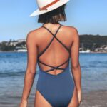 Deep V-Neck Solid Color One-piece Backless Swimsuit