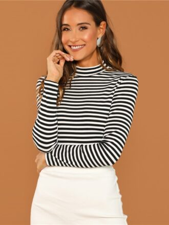 Black and White Slim Fit Mock Neck Women's Top