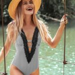 Lace Splicing Back Hook Closure One-piece Swimsuit