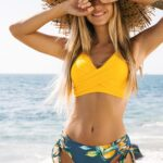 Solid and Print Mid-Waist Lace Up Two Piece Bikini Set
