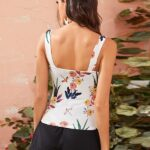 Crisscross Floral Print Broad V-Neck Women's Tank Top